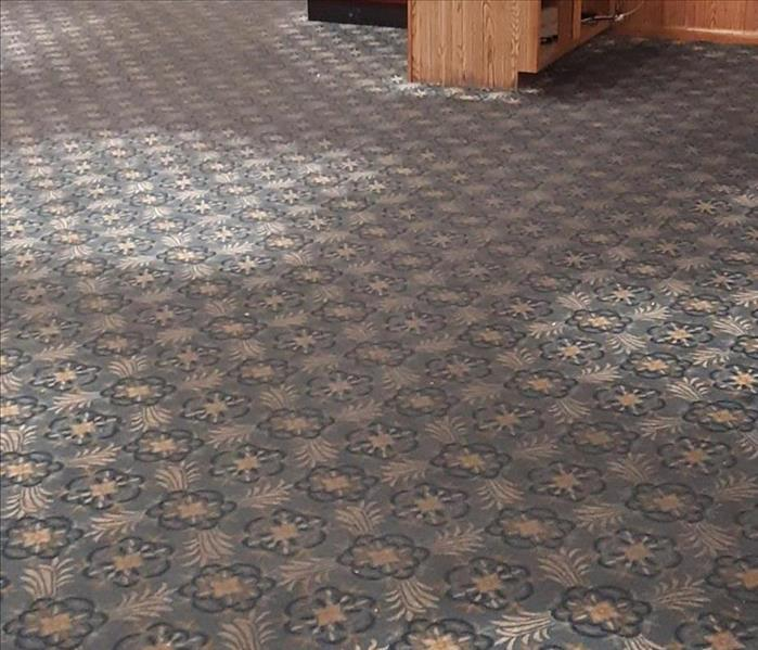 Restaurant carpet is discolored and dark from dirt. Pattern on carpet is dull and barely noticeable.